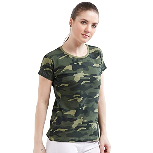dc1e2d5fef644 Wear Your Opinion Women's Cotton Camouflage Army Military Print Half Sleeve  T-Shirt Top
