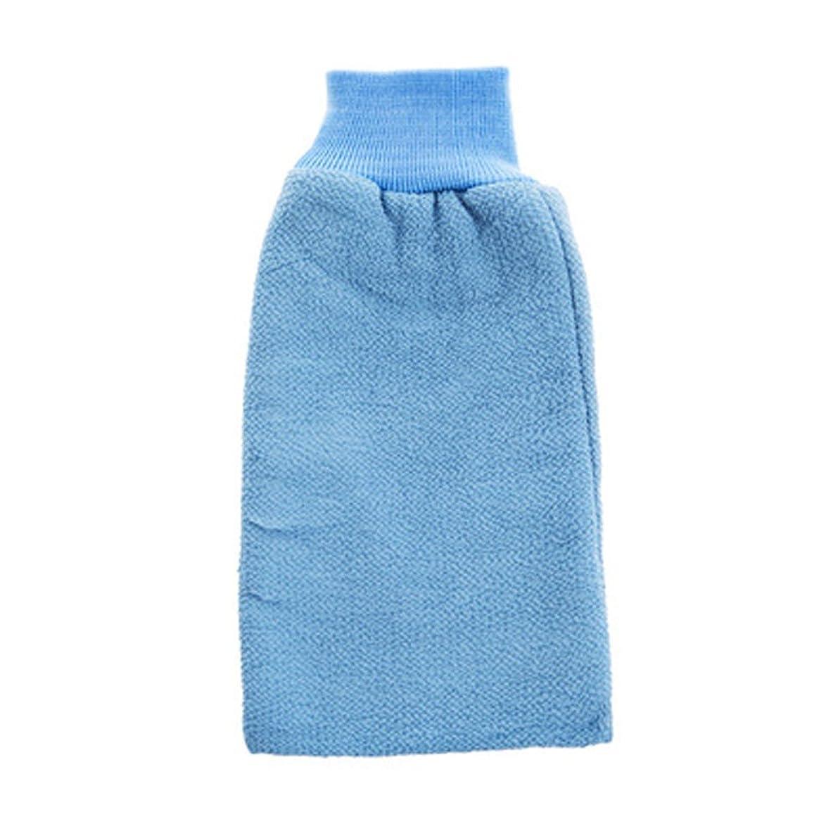 焦がす理由疎外するボディエクスフォリエイティングミットバスブラシシャワーグローブバス手袋 - ブルー