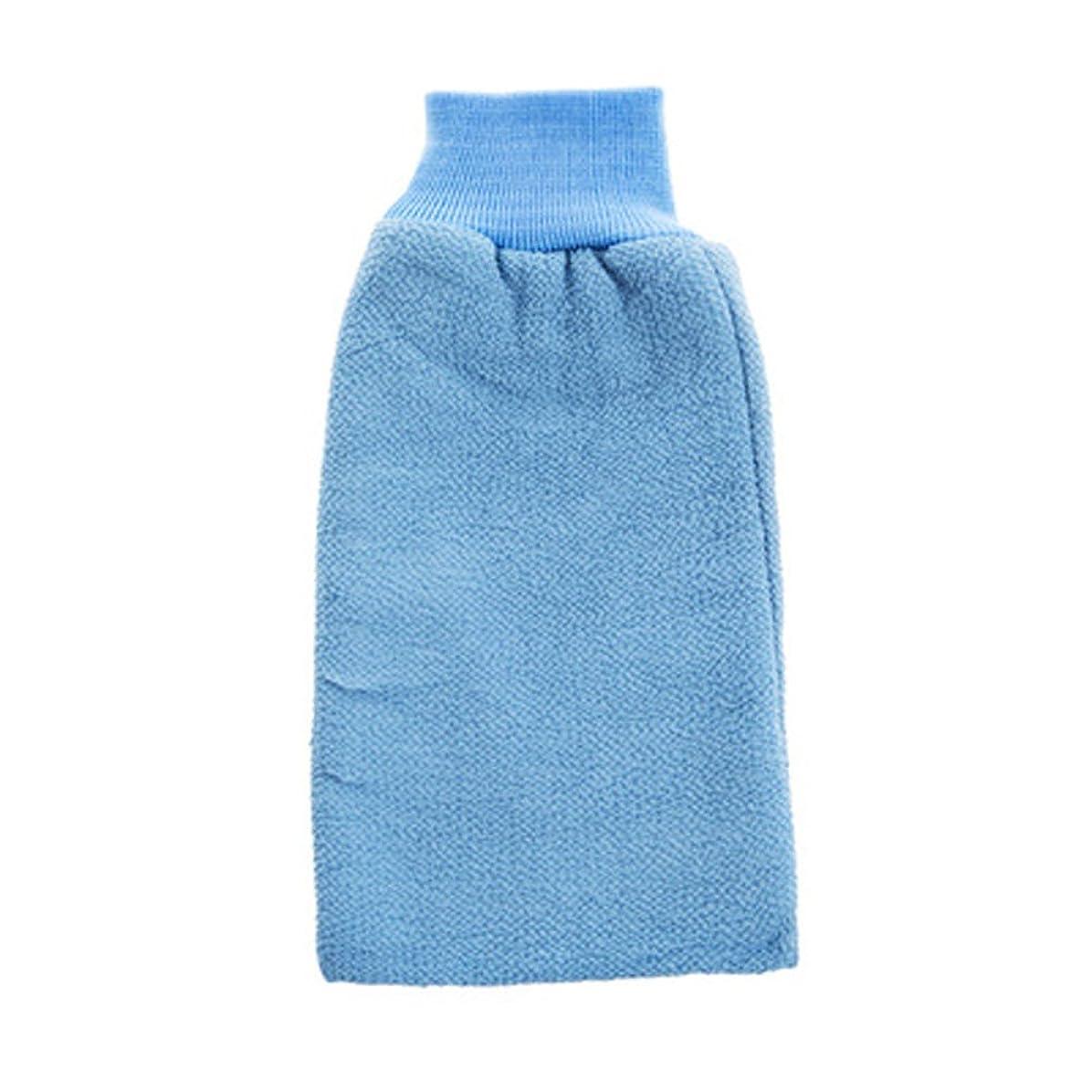 葉を拾う歴史的今までボディエクスフォリエイティングミットバスブラシシャワーグローブバス手袋 - ブルー