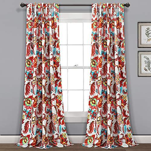 "Lush Decor, Gray Zara Jacobean Room-Darkening Window Curtain Panels, 2-Piece, (84"" x 52"")"