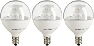 "6 Make-up Mirror Light Bulbs 15w 130v G-16.5 Candelabra Base Clear 2/"" Globe"