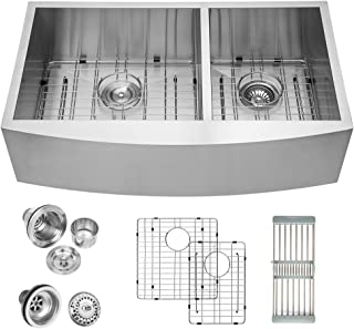 Logmey Double Bowl 33 inch Farmhouse Apron 60/40 Deep 18 Gauge Stainless Steel Kitchen Sink