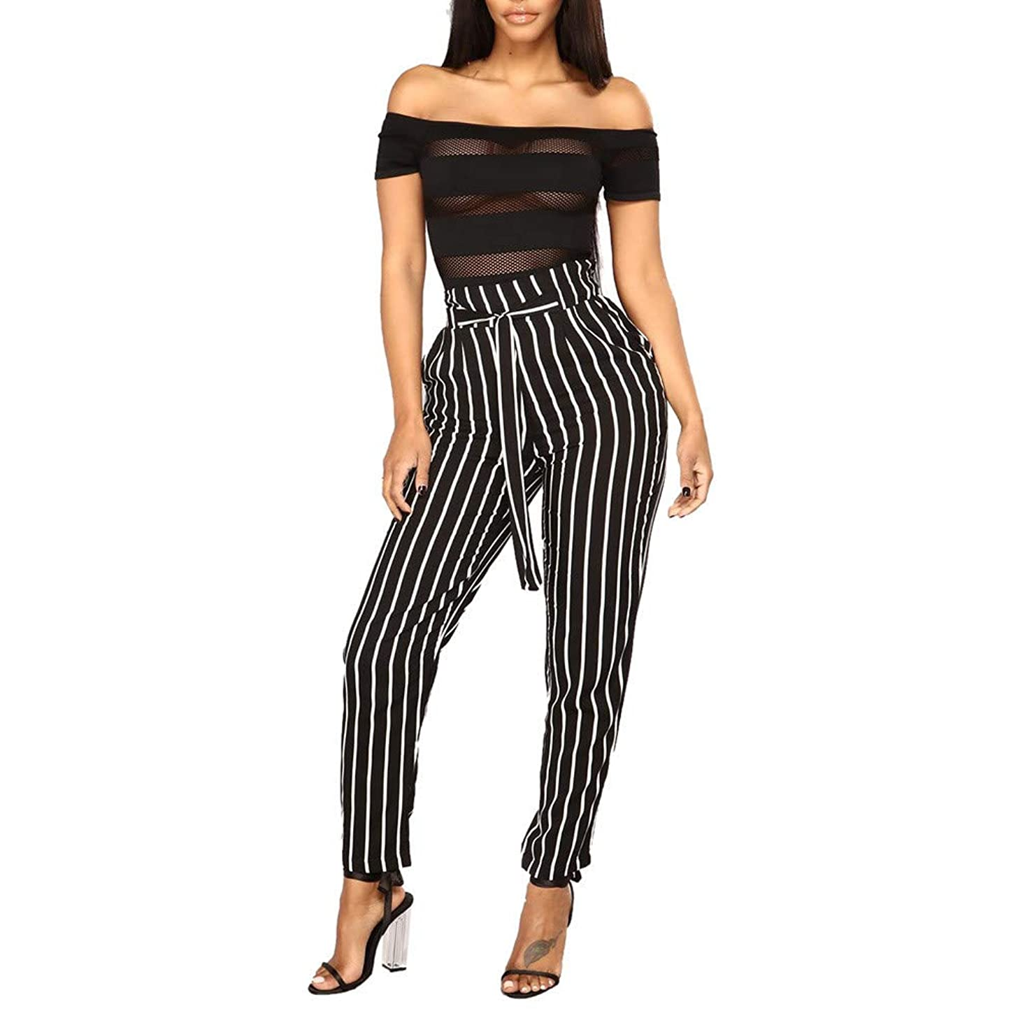 Pants for Women Work Casual Skinny Jamiacy Summer High Waist Harem Pant owtie Elastic Waist Stripe Casual Pants