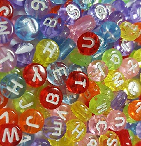 150 letters, parels, kunststofletters, rond, 7 mm, veelkleurig, bont, voor armbanden oprijgen, halskettingen, sleutelhangers en kindersieraden D107