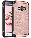 BENTOBEN Compatible with Galaxy Express 3 Case, Galaxy Luna Case, Galaxy J1 2016 Case, Galaxy Amp 2 Case, Dual Layer Glitter Shockproof Case for Samsung Galaxy J1 J120/Luna/Express 3/Amp 2, Rose Gold