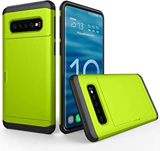 New trend S10 mobile phone case anti-drop and scra Galaxy S10, With Card Slot Shockproof Rugged Armor Protective Case For (Color : Green)