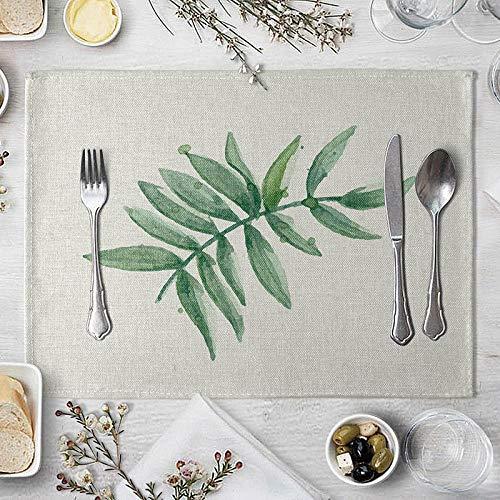 Platzsets Tischset Green Leaves Pattern Tischset Esstisch Mat Cotton Leinen Pad Green Plant Drink Coasters Küchenzubehör 3