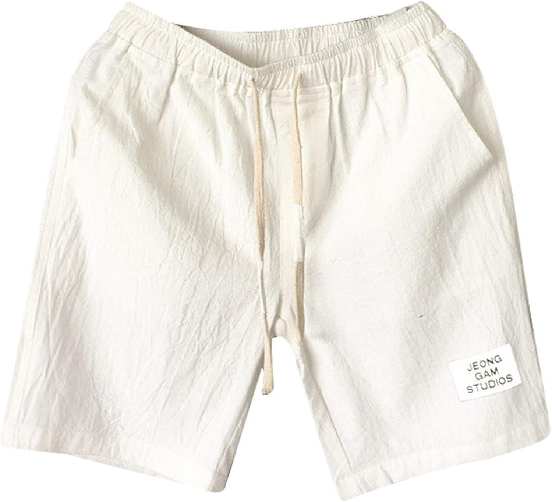 Tootom Men's Casual Linen Shorts Elastic Waist Drawstring Summer Workout Running Jogger Short Pants