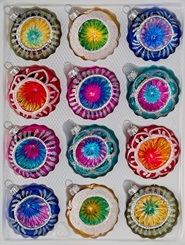 12 TLG. Glas-Weihnachtskugeln Set in Hochglanz Vintage Style Christbaumkugeln - Weihnachtsschmuck-Christbaumschmuck-Reflektorkugeln-Reflexkugeln-Reflector Ball
