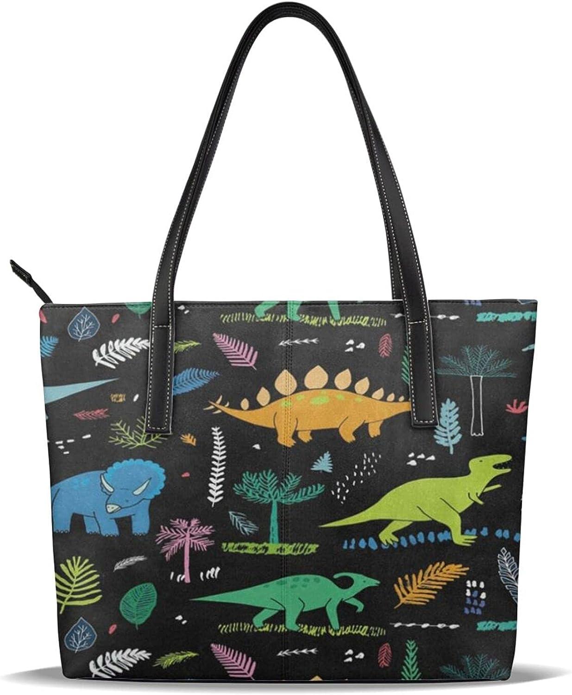 Dinosaur Palm Leaf Women's Tote Handbag Shoulder Ha Max 71% 5 ☆ very popular OFF Top Hand Bag