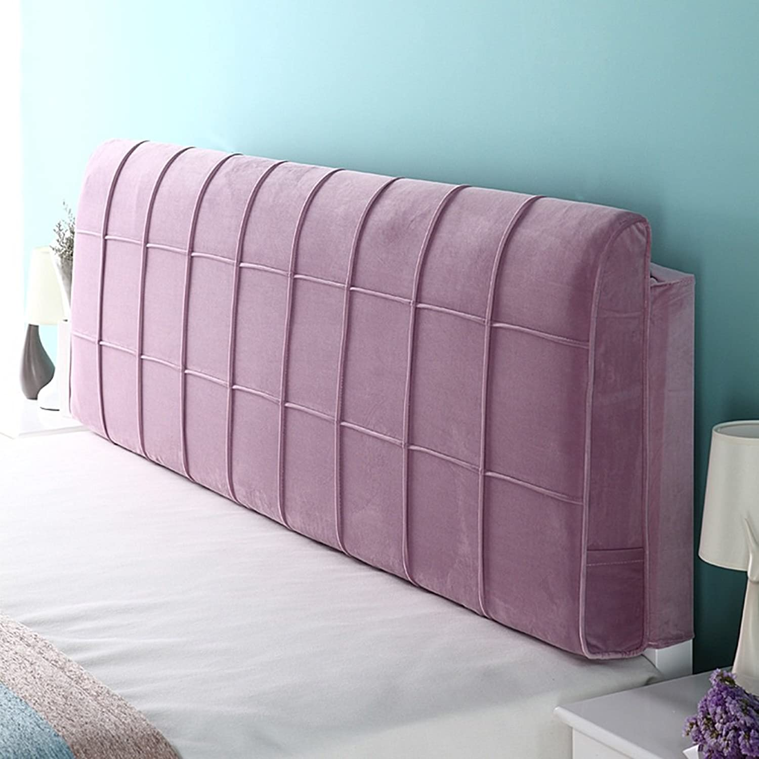 WENZHE Upholstered Fabric Headboard Bedside Cushion Pads Cover Bed Wedges Backrest Waist Pad Large Back Multifunction Cloth Art Soft Case Anti-collision Head, There Is Headboard   No Headboard, 4 colors, 6 Sizes ( color   1  , Size   With headboard-70cm )
