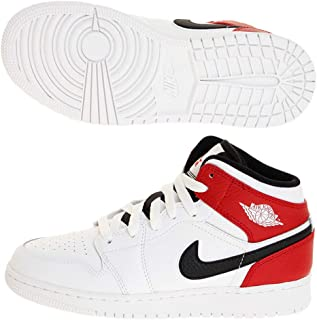 Kids GS Jordan 1 Mid White/Black-Gym Red Basketball Shoe