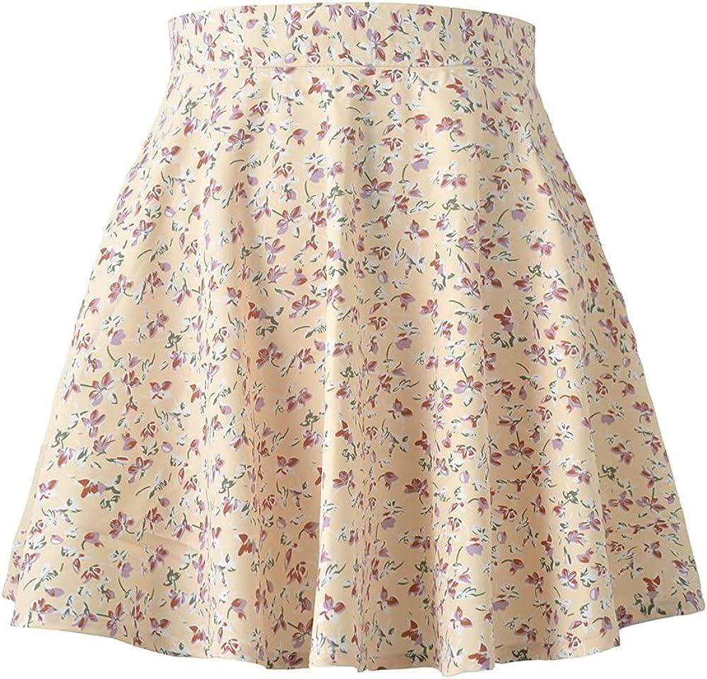 NP Summer Floral Print Chiffon Skirts Women High Waist