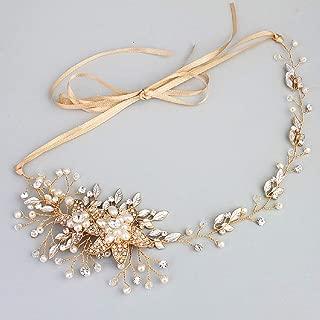 Flowers/Pearl Garland Leaf Bridal Wedding/Sweet Sixteen/Flower Girl/Quinceanera Crown Headdress (Gold Leaves & Pearls)