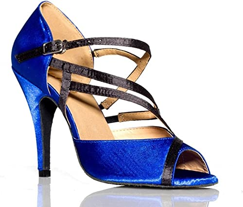 GUOSHIJITUAN Wohommes Bleu Bleu Chaussures De Danse Latine,Fond Mou PU Chaussures De Danse High Heels Tango Salsa Chaussures De Danse Sociale  10 jours de retour