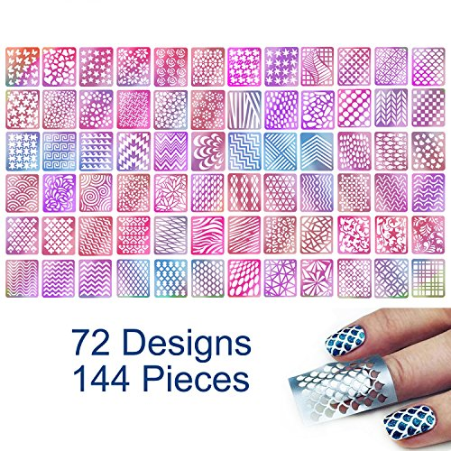 TailaiMei 144 Pieces 72 Designs Nail Vinyls Stencil Sticker Set covid 19 (Animal Design Shop Stickers coronavirus)