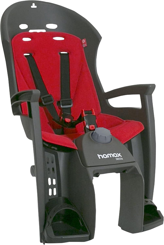 Hamax Unisex-Youth Siesta Pannier Rack Mount Rear Childseat, Grey/Red, One Size
