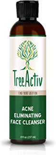 TreeActiv Acne Eliminating Face Cleanser, Natural Facial Treatment Cleansing Skin Wash, Castile Soap, Sulfur, Charcoal, Vitamin C, Peppermint, Men Women Teens, Sensitive, Unscented, 8 fl oz