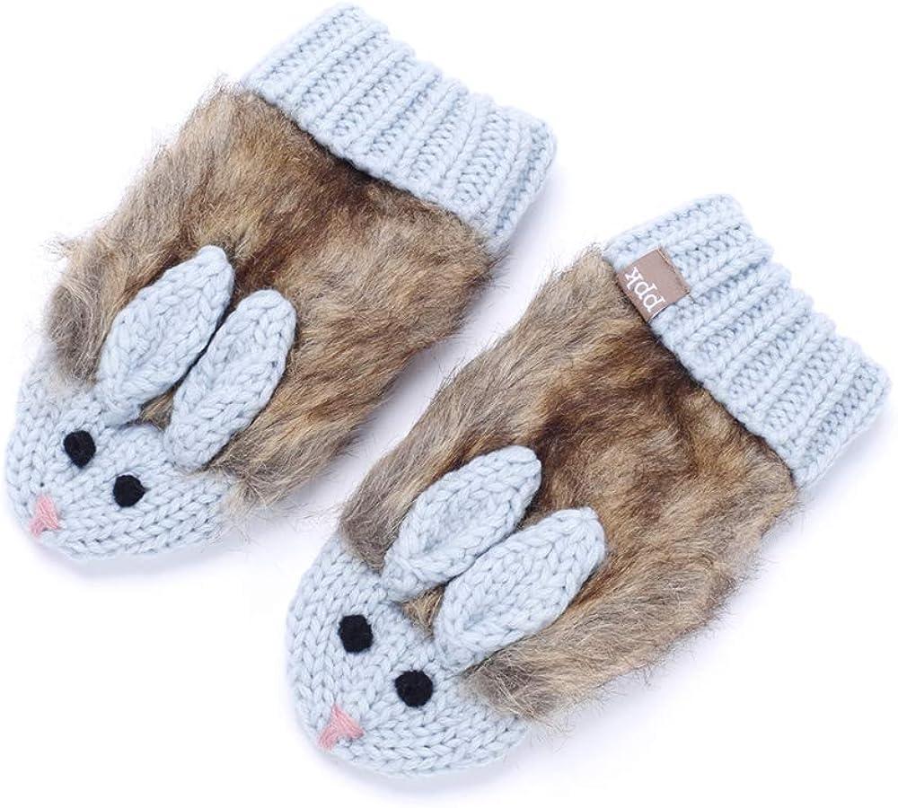 Faux Fur Cozy Cute Bunny Mittens