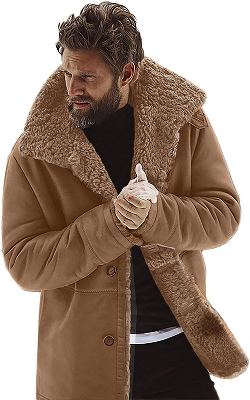 KEEYO Mens Casual Sherpa Fleece Lined Suede Trucker Jackets Winter Warm Fur Collar Heavyweight Ski Jackets Overcoats