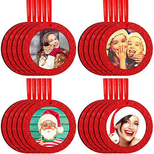 Jetec 20 Marcos de Fotos de Navidad Pequeños Marcos Redondos de Fotos de Vacaciones de Fieltro Mini Marco de Fotos Colgante Brillante Marcos Adornos Navidad para Regalo o Colgado de Árboles Navidad