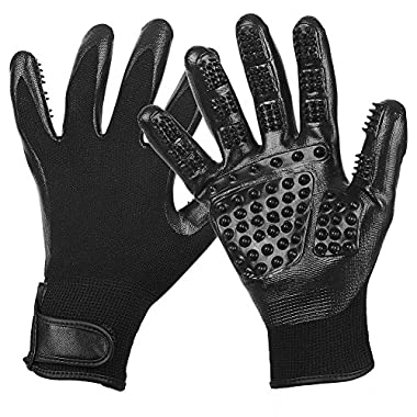 Pet Grooming Glove - Gentle Deshedding Brush Glove - Efficient Pet Hair Remover - Massage Tool with Enhanced Five Finger Design - Perfect for Dogs Cats & Horse with Long & Short Fur - 1 Pair (Black)