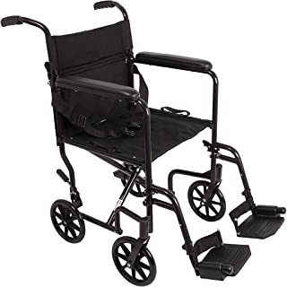 JSYCD Aleación de Aluminio Transporte Silla de Ruedas, Silla de traslación del Carro Plegable Ligero de Transporte para sillas de Ruedas, Negro