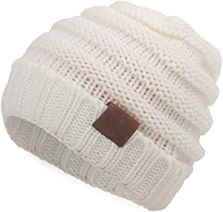 Aigemi Kids Baby Toddler Cable Ribbed Knit Children's Winter Hat Beanie Cap (White)