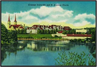Gonzaga University and St. Aloysius Church, Spokane (36x23 1/2 Framed Gallery Wrapped Stretched Canvas)