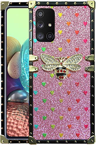 A71 5G phone case square compatible with Samsung Galaxy A 71 5G cases bling trunk bee rectangle cover girly heart box cute glitter galaxya71 samsunga71 71a 5g bumper luxury girls women 6.7 inch (pink)