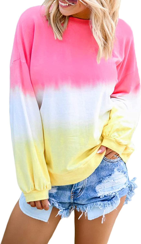 Zecilbo Women Tie Dye Crewneck Long Sleeve Sweatshirt Casual Loose Pullover Colorblock Shirts Tops