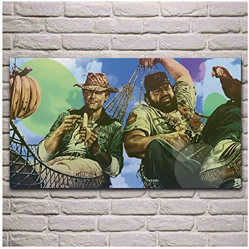 wzgsffs Terence Hill Bud Spencer Film Kunstwerk Leinwand Gemälde Poster Wohnzimmer Home Wand dekorative Leinwand Kunstdruck-20X32 Zoll Rahmenlos