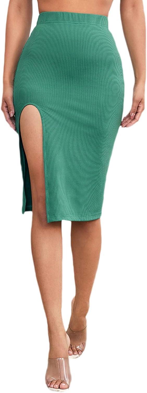 SheIn Women's Split Thigh High Elastic Waist Bodycon Rib Knit Solid Midi Skirt