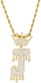 Initial Letter Necklace Simulated Diamond Iced out Crown Dripping Letter Initial Pendant Necklace for Women