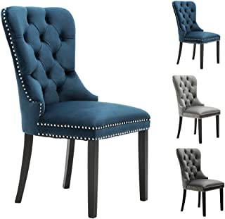 Velvet Elegant Upholstered Dining Chairs, Fabric Armless Accent Chair Set of 2 - Indigo Blue