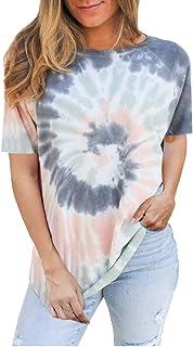ESKNAS Womens T-Shirts Summer Tie-dye Printed Short Sleeve Tee Shirt O-Neck Casual Tunic Tops Blouse