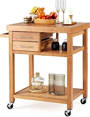 EROMMY Rolling Bamboo Wood Kitchen Island Cart, Multi-Purpose Kitchen Trolley Cart on Wheels, Rolling Kitchen Cart with Drawe