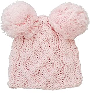 Huggalugs Baby Cable Knit Pom Pom Newborn Girl Boy Hospital Hat in 3 Color Choices