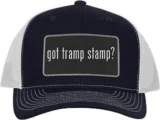 One Legging it Around got Tramp Stamp? - Leather Black Metallic Patch Engraved Trucker Hat