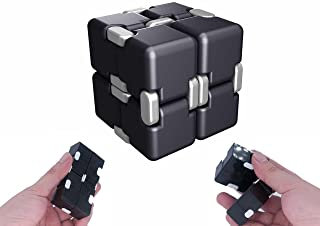 Infinity Magic Cube EDC Toy - Fidget Rubiks Cube Pressure Reduction Toys, 8 Block of Spining Cube Fidgeting, Killing Time Toys Infinite Cube For ADD, ADHD, Anxiety, Autism, Plastic, Black