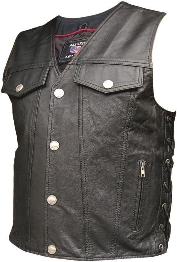 Men's AL2221 Leather Vest in Denim style 48 Black