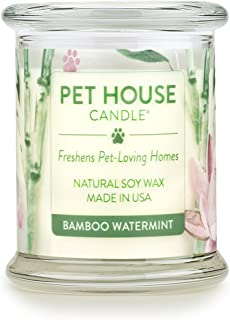 One Fur All - 100% Natural Soy Wax Candle, 20 Fragrances - Pet Odor Eliminator, Up To 60 Hours Burn Time, Non-toxic, Reusable Glass Jar Scented Candles – Pet House Candle, Bamboo Watermint