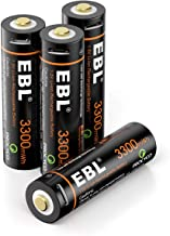 EBL USB Rechargeable Lithium AA Batteries - 1.5V 3300mWh Long Lasting Rechargeable Double A Li-ion Batteries with Micro Charging Cable - Quick Charge in 2 Hours (4 Pack)