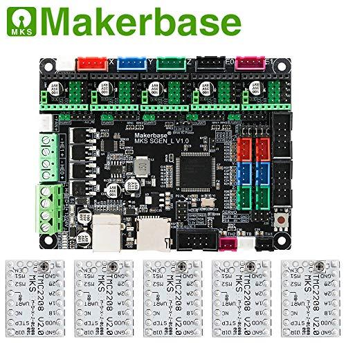 BZ 3D Controller Board MKS SGen L V1.0 32-bit Motherboard Compatible Uart/SPI Open Source Marlin2.0/Smoothieware with MKS TMC2208/2209 Steep Motor Driver for 3D Printer Parts (Board+TMC2208 V2.05)