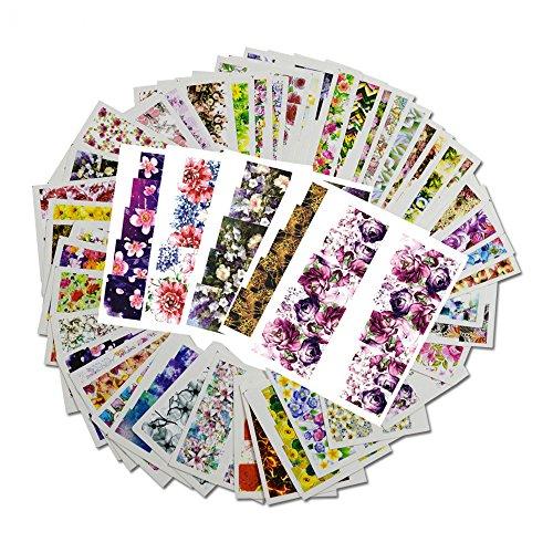 Snaro 48 hojas Nail Sticker Clavar Tip Pegatinas DIY Serie de Patrón de Flores Uñas Pegatinas de Uñas Herramientas Artísticas,49.5*64MM
