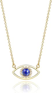 14 K Gold Natural Gemstone Evil Eye Pendant Necklace Jewelry for Women