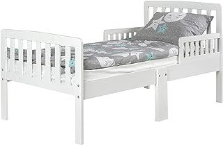 comprar comparacion Leomark Blanco Cama Infantil de Madera - White Modern - con Las Barreras de Protección, Colchón espuma, para niños, Dimens...