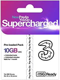 イギリスSIM Three 30日/データ5GB/通話3000分・他約60地域 データ5GB コミコミパック