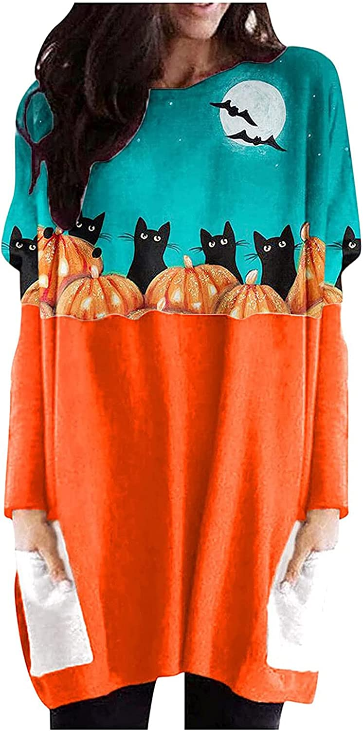 Halloween Shirts Tunics for Women To Wear with Leggings Long Sleeve Crew Neck Tops Casual Loose Blouses with Pockets