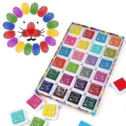 Funxim Stempelkissen Set, Fingerabdruck Stempelkissen Ungiftig Abwaschbar Tinte Stamp Pad für Papier Handwerk Stoff Malerei DIY Geburtstag Geschenk (24 Farben (24 Pack))
